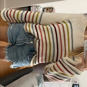 Wide sleeves striped knit sweater
